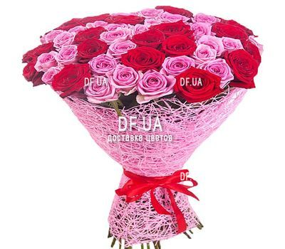 """Bouquet of red and pink roses"" in the online flower shop df.ua"