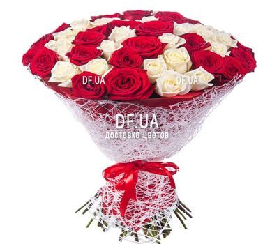 """47 red and white roses"" in the online flower shop df.ua"