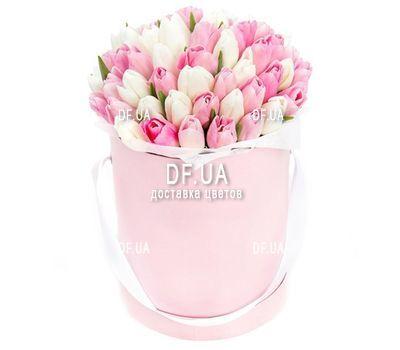 """""""Белые и розовые тюльпаны в коробке"""" в интернет-магазине цветов df.ua"""