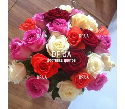 """25 multi-colored roses - wiev 2"" in the online flower shop df.ua"