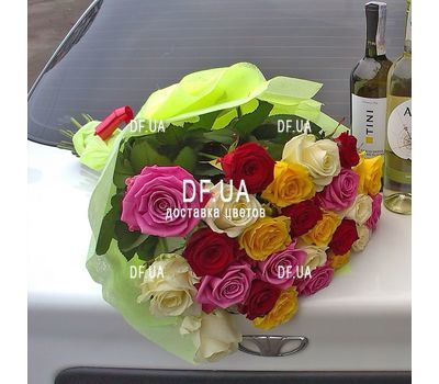 """25 multi-colored roses - wiev 3"" in the online flower shop df.ua"