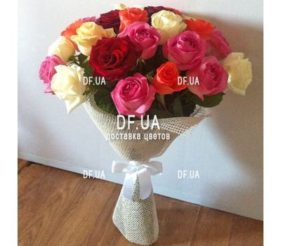 """25 multi-colored roses - wiev 4"" in the online flower shop df.ua"