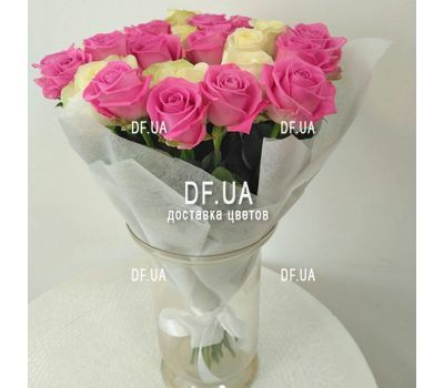 """White and pink roses in a bouquet - wiev 1"" in the online flower shop df.ua"