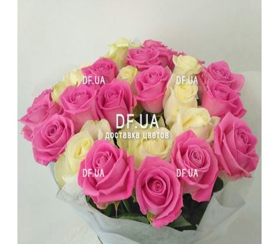 """White and pink roses in a bouquet - wiev 2"" in the online flower shop df.ua"