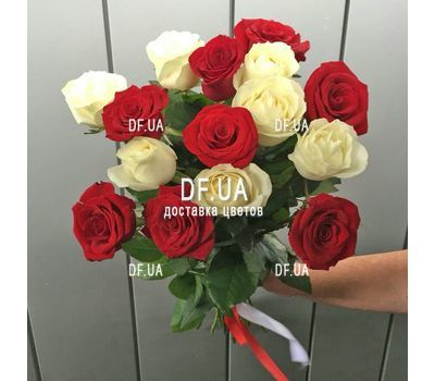 """Bouquet 15 white red roses - view 2"" in the online flower shop df.ua"