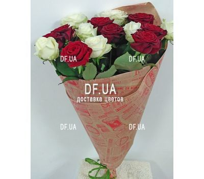 """Bouquet 15 white red roses - view 3"" in the online flower shop df.ua"