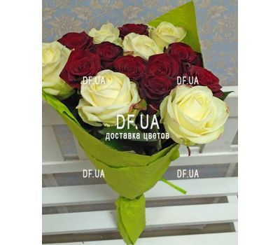 """Bouquet 15 white red roses - view 4"" in the online flower shop df.ua"