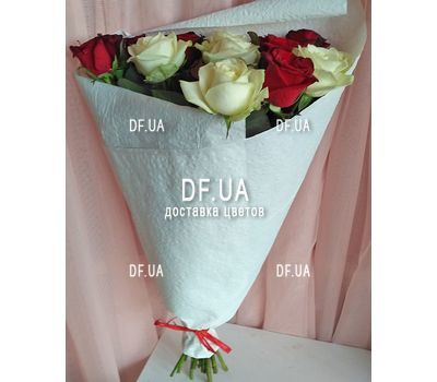 """Bouquet 15 white red roses - view 5"" in the online flower shop df.ua"