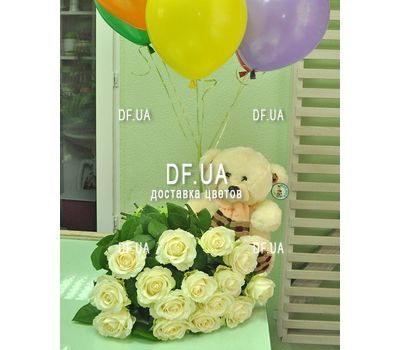 """""""Bouquet of 15 white roses - view 1"""" in the online flower shop df.ua"""