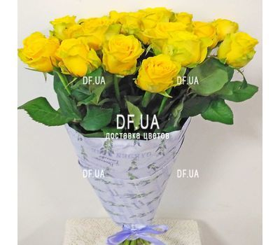 """Bouquet of 21 yellow roses - view 1"" in the online flower shop df.ua"