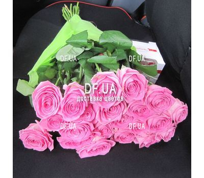 """Bouquet of 25 pink roses - wiev 1"" in the online flower shop df.ua"