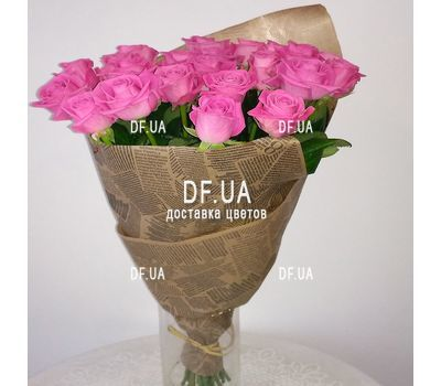 """Bouquet of 25 pink roses - wiev 2"" in the online flower shop df.ua"