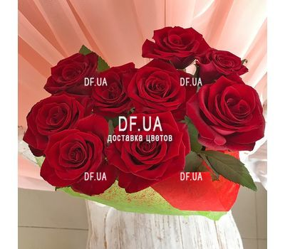 """Bouquet of 9 burgundy roses - view 2"" in the online flower shop df.ua"