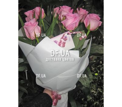 """Bouquet of 9 pink roses - view 1"" in the online flower shop df.ua"