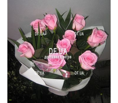 """""""Bouquet of 9 pink roses - view 2"""" in the online flower shop df.ua"""