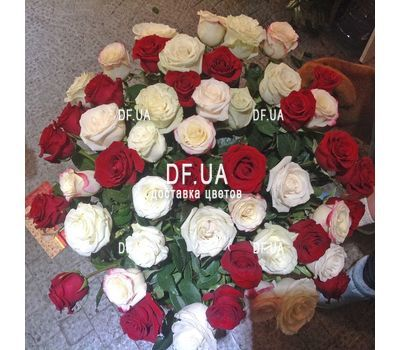 """Bouquet of roses red and white - view 2"" in the online flower shop df.ua"