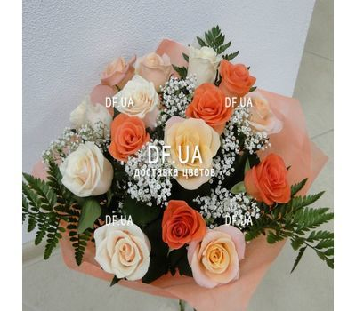"""A bouquet of roses of different colors - view 2"" in the online flower shop df.ua"