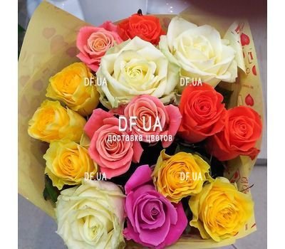 """A bouquet of roses of different colors - view 4"" in the online flower shop df.ua"