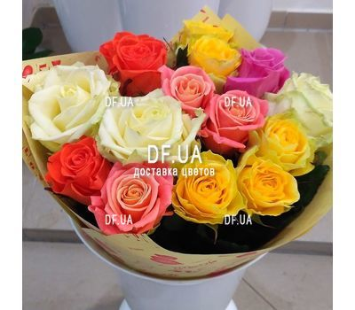"""A bouquet of roses of different colors - view 5"" in the online flower shop df.ua"