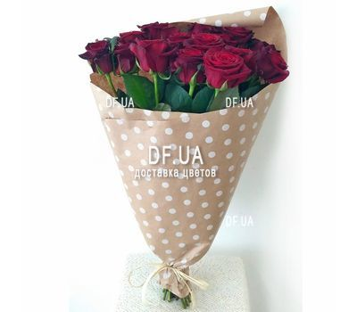 """""""Bouquet of 15 red roses in craft - view 1"""" in the online flower shop df.ua"""