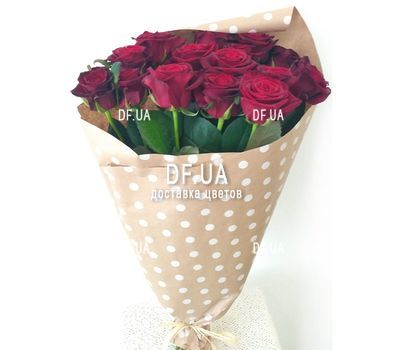 """""""Bouquet of 15 red roses in craft - view 2"""" in the online flower shop df.ua"""