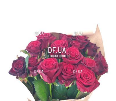 """""""Bouquet of 15 red roses in craft - view 3"""" in the online flower shop df.ua"""