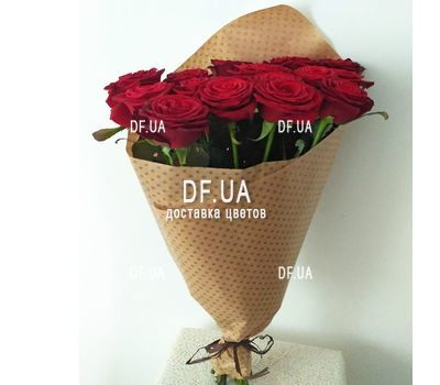 """""""Bouquet of 15 red roses in craft - view 6"""" in the online flower shop df.ua"""