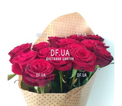 """""""Bouquet of 15 red roses in craft - view 7"""" in the online flower shop df.ua"""