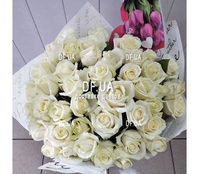 """Bouquet of 43 white roses - view 2"" in the online flower shop df.ua"