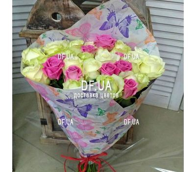 """Bouquet of roses white and pink - view 1"" in the online flower shop df.ua"