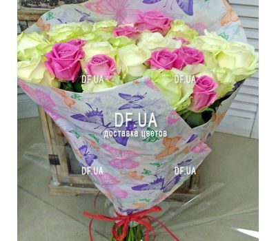 """Bouquet of roses white and pink - view 2"" in the online flower shop df.ua"