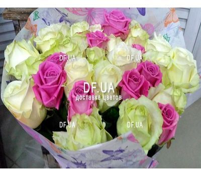 """Bouquet of roses white and pink - view 3"" in the online flower shop df.ua"