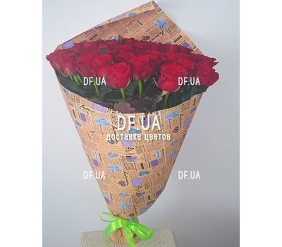 """Bouquet of scarlet roses - view 1"" in the online flower shop df.ua"