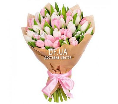 """Delicate bouquet of 51 white and pink tulips"" in the online flower shop df.ua"