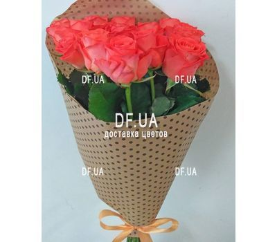 """Bouquet 15 coral roses - view 6"" in the online flower shop df.ua"