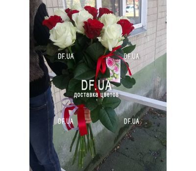 """Bouquet 15 white red roses - view 6"" in the online flower shop df.ua"