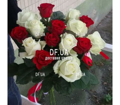 """Bouquet 15 white red roses - view 7"" in the online flower shop df.ua"