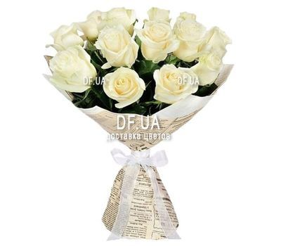"""Bouquet of 15 white roses"" in the online flower shop df.ua"
