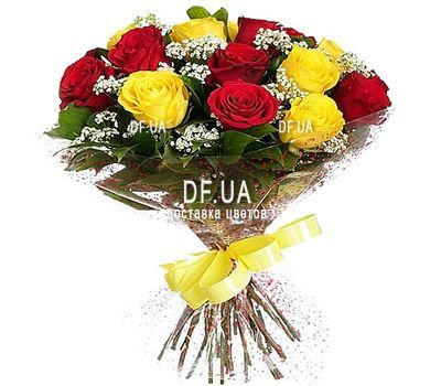 """17 red and yellow roses"" in the online flower shop df.ua"