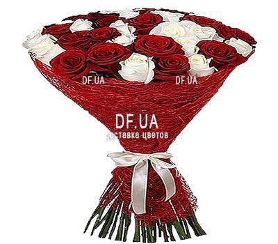 """""""37 красных и белых роз"""" в интернет-магазине цветов df.ua"""