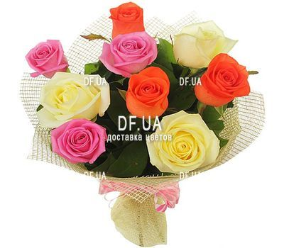 """9 different colored roses"" in the online flower shop df.ua"