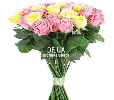 """29 pink and yellow roses"" in the online flower shop df.ua"