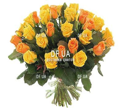 """35 yellow and orange roses"" in the online flower shop df.ua"