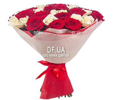 """27 red and white roses"" in the online flower shop df.ua"