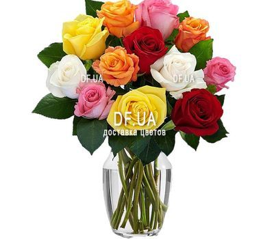 """11 multi-colored roses"" in the online flower shop df.ua"
